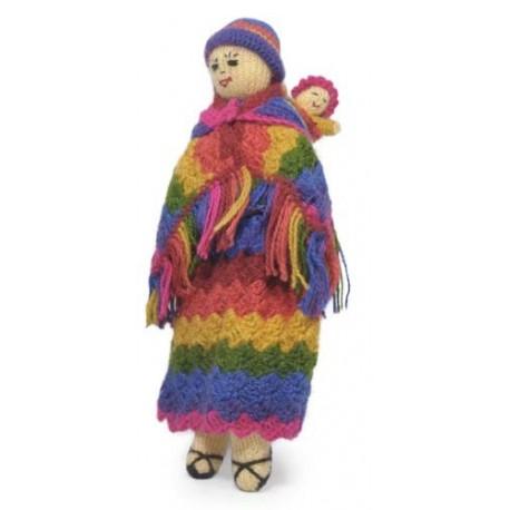 Poupées maman et bébé tricotées