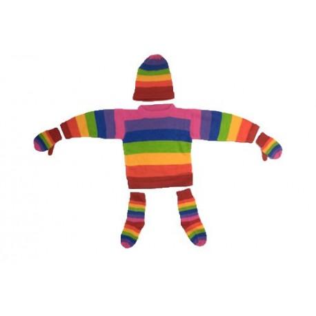 Ensemble bébé arc-en-ciel (pull,bonnet,gants et chaussettes)