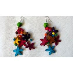 Boucles d'oreilles étoiles en écorce d'orange et ivoire végétal