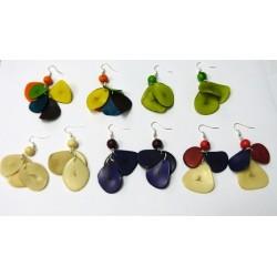 Boucles d'oreilles pétales d'ivoire végétal